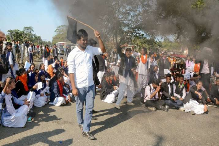 Protest in Assam against Citizenship Amendment Bill.