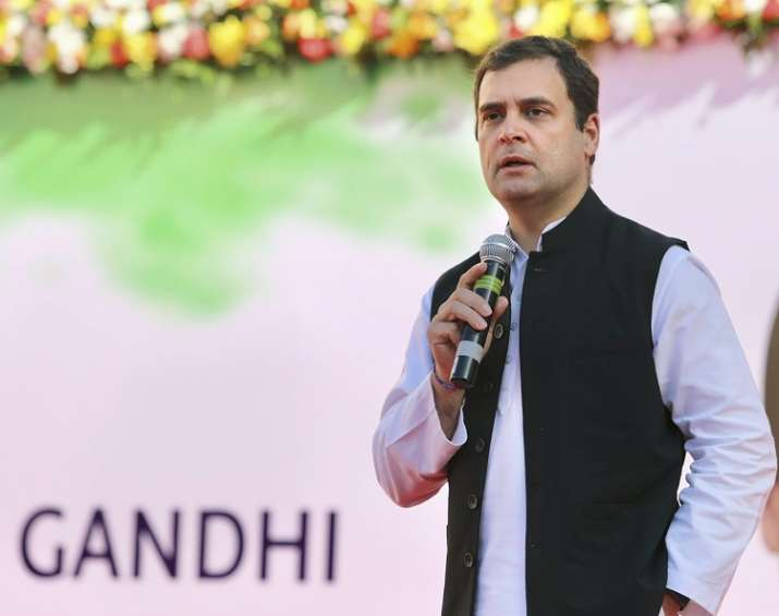 Congress President Rahul Gandhi interacts with students at