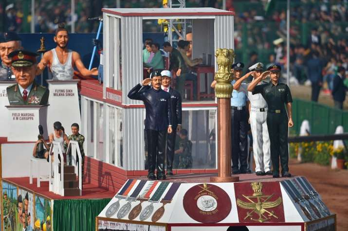 India Tv - The tableau of the Indian Army on display during the 70th Republic Day Parade at Rajpath in New Delhi