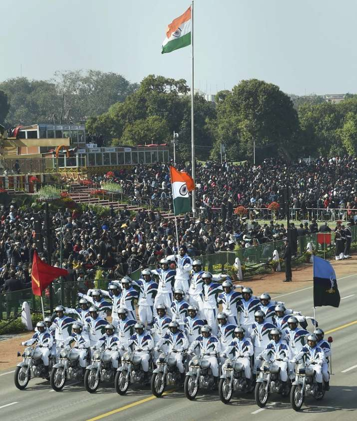 India Tv - 33 Dare Devils of Indian Army's Crops of Signals Motor Cycle team display their skills on nine motorcycles during the 70th Republic Day Parade at Rajpath in New Delhi