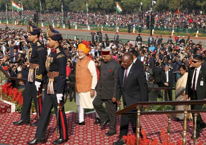 India Tv - President Ram Nath Kovind, Chief Guest Cyril Ramaphosa and Prime Minister Narendra Modi walk towards the saluting dais during the 70th Republic Day Parade at the Rajpath in New Delhi