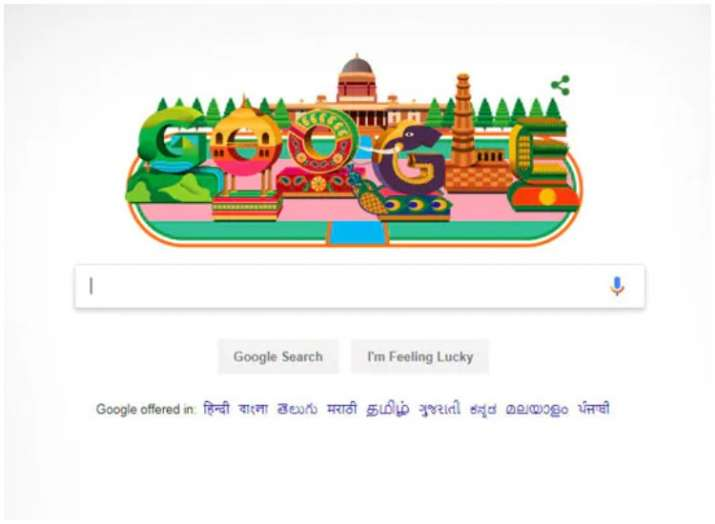 India Tv - Republic Day 2019: Internet search giant Google celebrates R-Day with colourful doodle