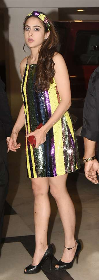 India Tv - Sara Ali Khan chooses blingy look for Simmba's success party; See more quirky looks of the actress