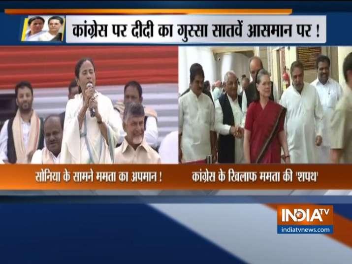 Congress MPs raise slogans against Mamata Banerjee in Parliament