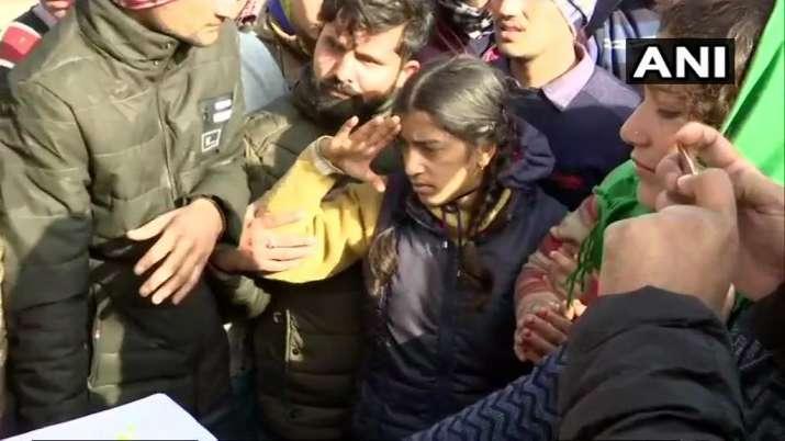 India Tv - Daughter of a CRPF braveheart salutes father's mortal remains in Dehradun
