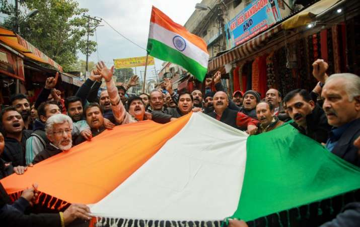 Jammu: People chant slogans as they celebrate India's major