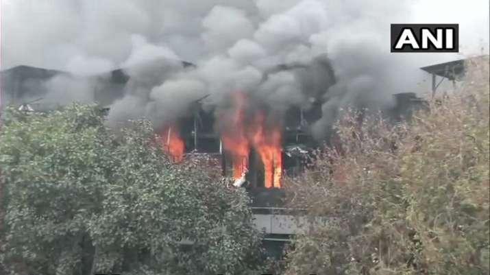 India Tv - Massive fire at paper card factory in Delhi's Naraina