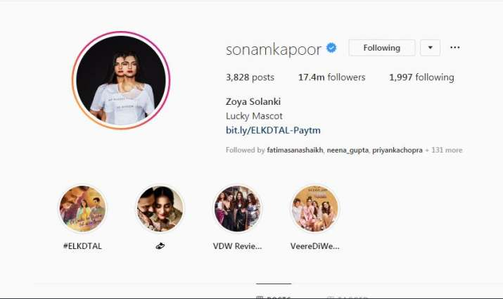 India Tv - Sonam Kapoor's Instagram handle