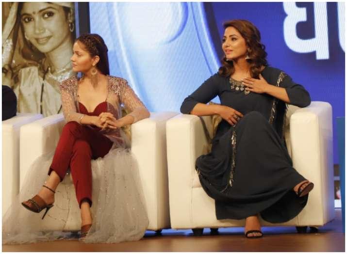 India Tv - TV Ka Dum: While Hina Khan looks gorgeous in gray, Rubina Dilaik hails stunningly in hot red