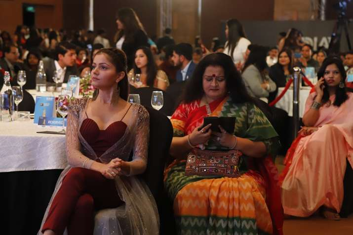 India Tv - Rubina Dilaik looks ravishing in a ox blood gown.