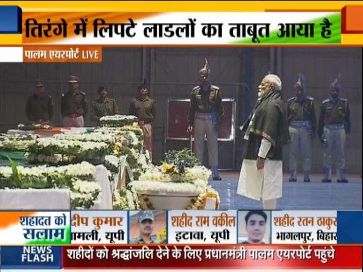PM Modi pays tribute to martyred jawans