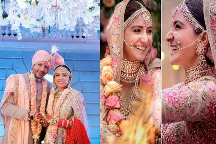 India Tv - Neeti Mohan-Nihaar Pandya Wedding: Bollywood singer Neeti's bridal look reminds us of Anushka Sharma's lehenga