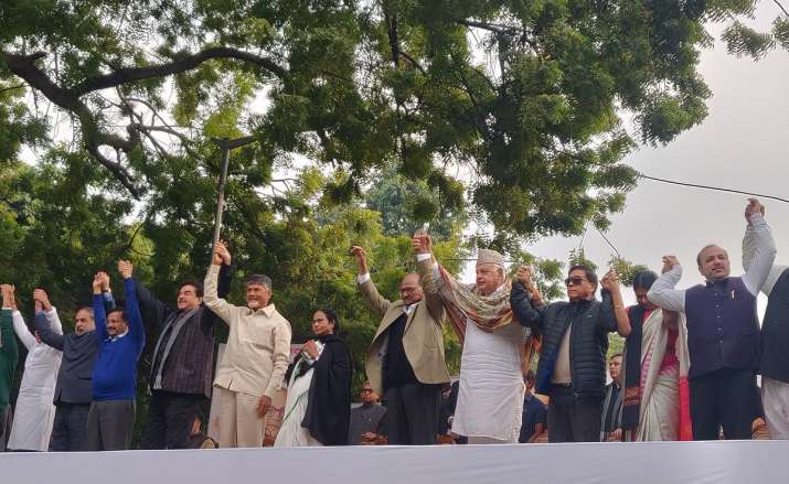 India Tv - Opposition leaders united on AAP platform in New Delhi today