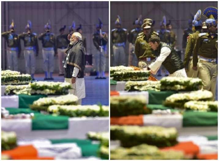India Tv - PM Modi (R), Rahul Gandhi (L) pay tribute to CRPF jawans killed in Pulwama terror attack at Palam ai