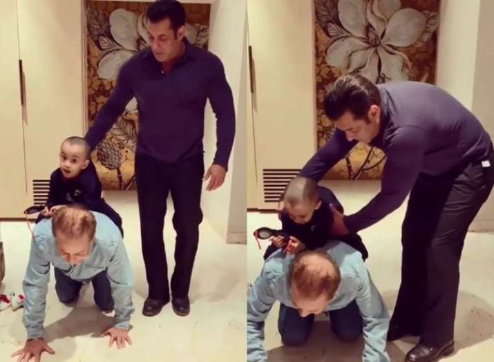 Salman Khan's father Salim Khan gives horse-back ride to little Ahil in this throwback video
