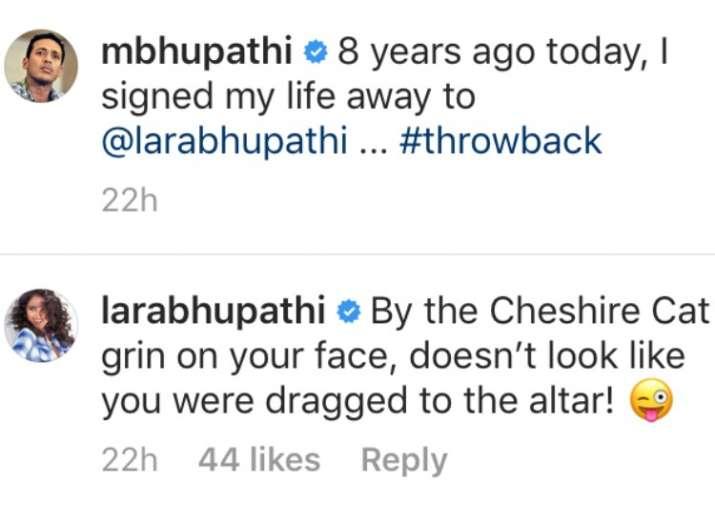 India Tv - Lara Dutta's comment on husband Mahesh Bhupathi's witty anniversary post