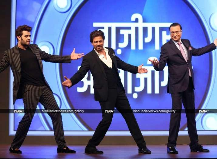 India Tv - Shah Rukh Khan, Mr. Rajat Sharma and Maniesh Paul