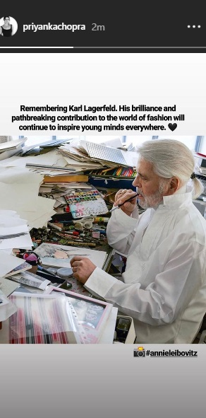 India Tv - Priyanka Chopra pays tribute to iconic fashion designer Karl Lagerfeld
