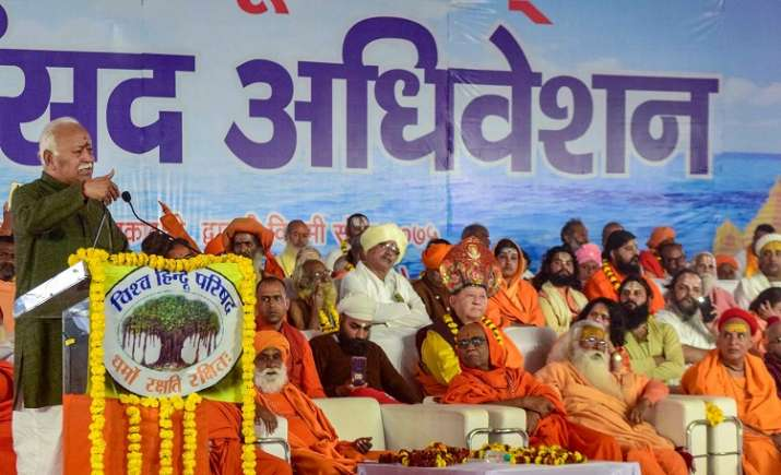 RSS Chief Mohan Bhagwat addresses the gathering at 'Dharma