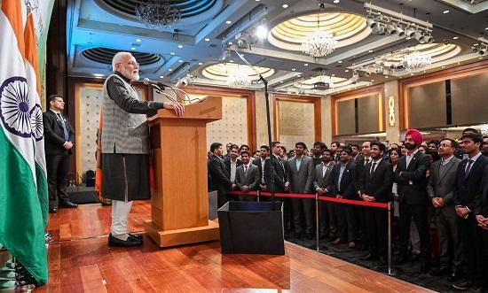 Prime Minister Narendra Modi addresses the Indian