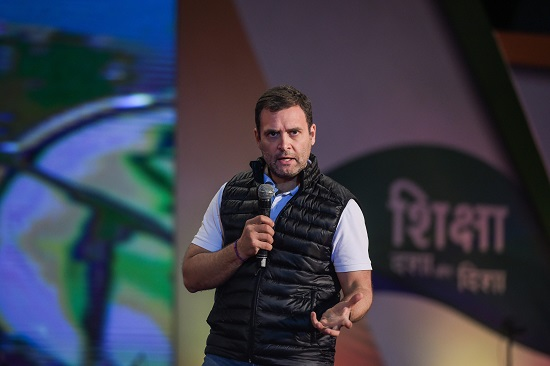 Congress President Rahul Gandhi interacts with students on