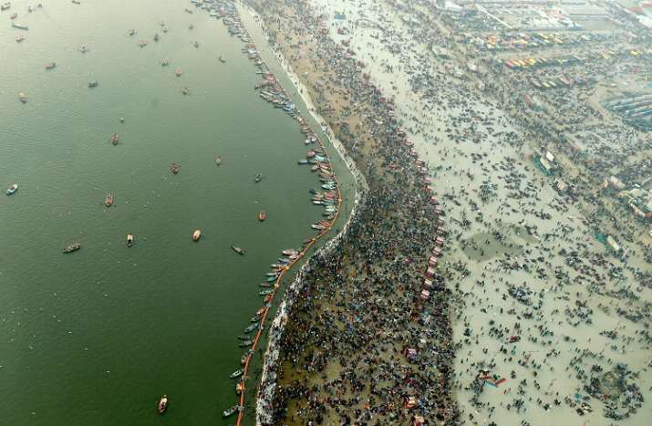 India Tv - An ariel view of Sangam on the eve of the second royal bath 'Mauni Amavasya' part of the ongoing Kumbh Mela 2019