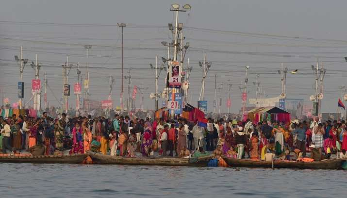India Tv - Pilgrims arrive for second royal bath 'Mauni Amavasya' part of the ongoing Kumbh Mela 2019, in Allahabad