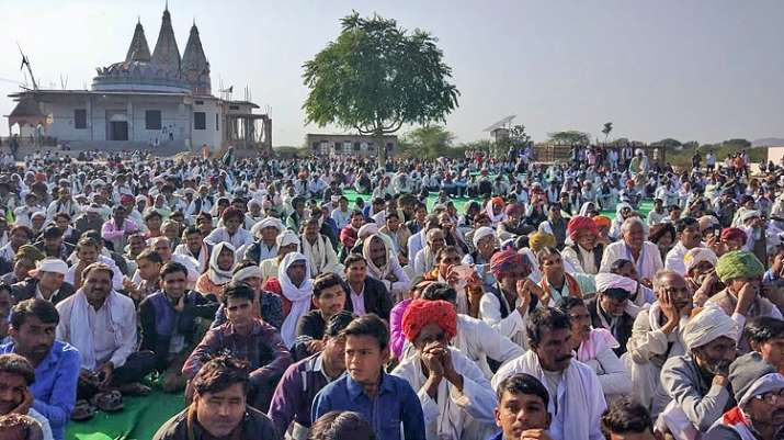 Members of the Gujjar community hold a dharna demanding