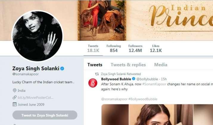 India Tv - Sonam Kapoor's Twitter handle