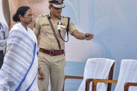 India Tv - West Bengal Chief Minister Mamata Banerjee with Kolkata Police commissioner Rajeev Kumar during the Joint Investiture Ceremony of West Bengal Police and Kolkata Police, in Kolkata