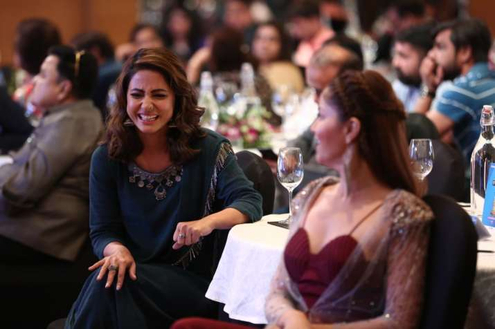 India Tv - A candid picture of Rubina Dilaik and Hina Khan from the conclave