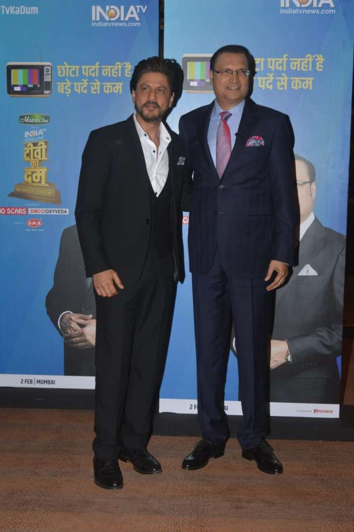 India Tv - Shah Rukh Khan with India TV's editor-in-chief Rajat Sharma