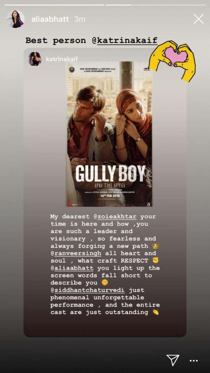 India Tv - Katrina Kaif is all praise for Ranveer Singh and Alia Bhatt's Gully Boy