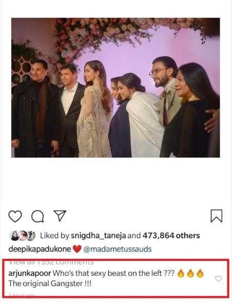 India Tv - Arjun Kapoor's comments on Deepika Padukone's pictures from Madame Tussauds will leave you in splits