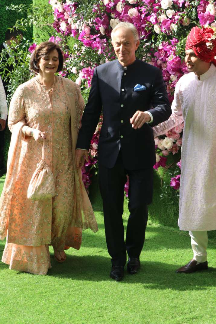 India Tv - Akash Ambani and Shloka Mehta wedding 2019: Tony Blair with his wife