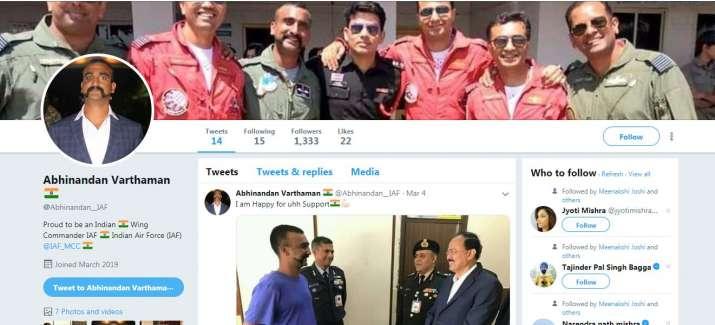 India Tv - Fake Twitter account ofWing CommanderAbhinandan Varthaman