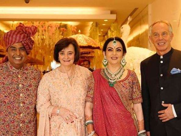 India Tv - Akash Ambani and Shloka Mehta wedding 2019: Ambanis with Tony Blair and wife