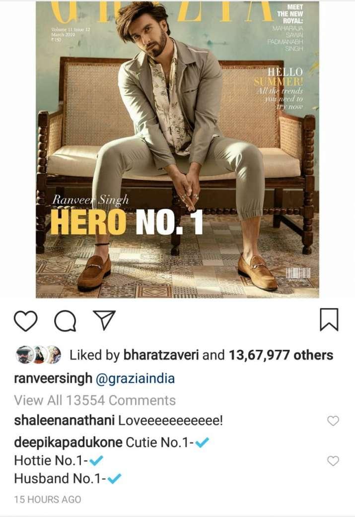 India Tv - Deepika Padukone's comment on Ranveer Singh's Instagram picture