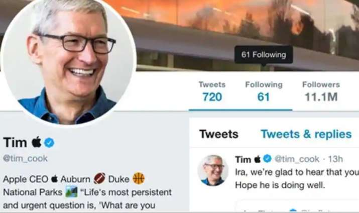 Apple CEO Tim Cook trumps Trump, changes Twitter display