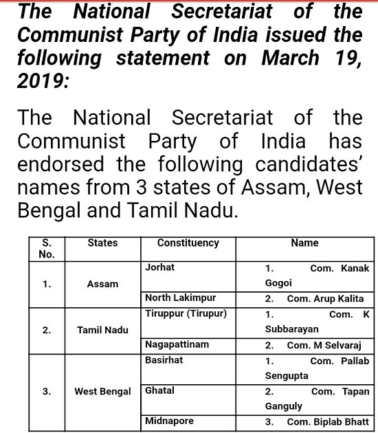 India Tv - Communist Party of India (CPI) announces list of 7 candidates for the upcoming Lok Sabha elections