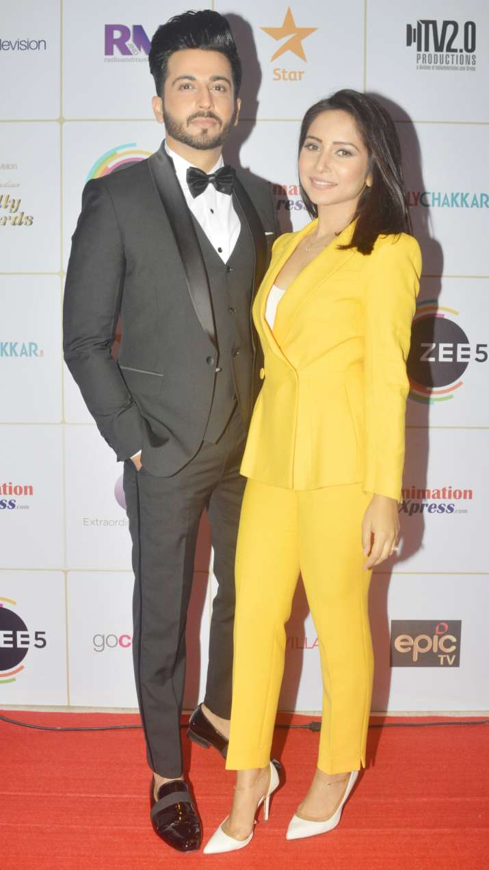 India Tv - Dheeraj Dhoopar with wife at Indian Telly Awards 2019