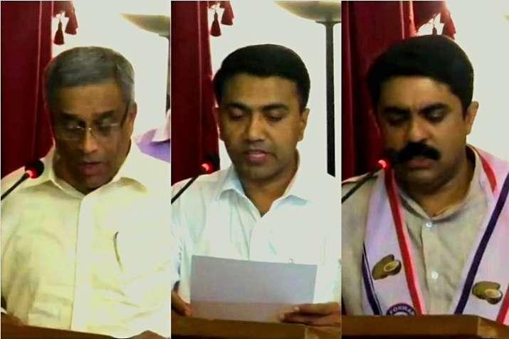Sudin Dhavalikar, MGP (L), Pramod Sawant, BJP (C) and Vijai