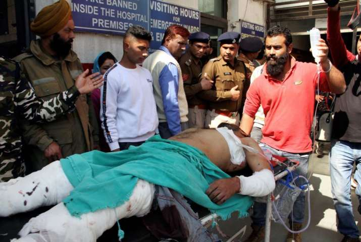 India Tv - Blast victims shifted to Govt Medical College hospital for treatment, in Jammu. More than two dozen people were injured in a grenade attack by suspected terrorists at the crowded general bus stand in Jammu.