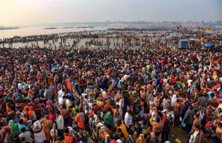 India Tv - Prayagraj: Devotees offer prayer and take holy dip on the occasion of 'Maha Shivaratri' festival during the ongoing Kumbh Mela, in Prayagraj (Allahabad), Monday, March 4, 2019.
