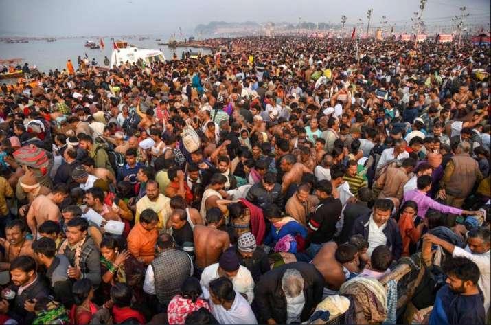 India Tv - Prayagraj: Devotees gather to take a holy dip on the occasion of 'Maha Shivaratri' festival during the ongoing Kumbh Mela, in Prayagraj (Allahabad), Monday, March 4, 2019.