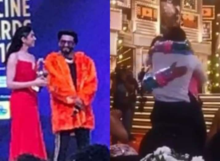 Ranveer Singh hugs wife Deepika Padukone and Ranbir Kapoor post winning Best Actor award