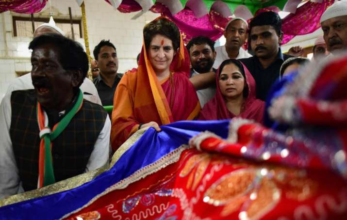 India Tv - Priyanka Gandhi's Ganga Yatra has been all about religious sentiments. She has been in and out of temples and dargahs along the route.