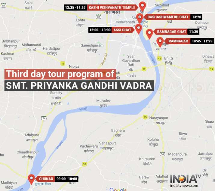 India Tv - Priyanka Gandhi's route on last leg of her three-day-long Ganga Yatra