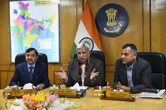 Chief Elections Commissioner (CEC) Sunil Arora flanked by