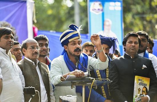 Bhim Army chief Chandrashekhar Azad addresses during